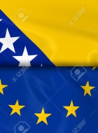 Flags of Bosnia and Herzegovina and the European Union Split in Half - 3D Render of the Bosnian and Herzegovinian Flag and EU Flag with Silky Texture